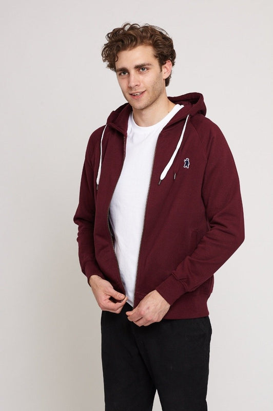 Atlas Burgundy Organic Cotton Hoodie-Absolutely Bear-MAMOQ