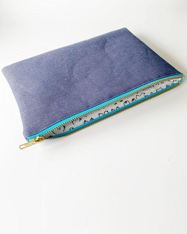 B Collection Navy Linen Clutch Bag-Eliza Eliza-MAMOQ