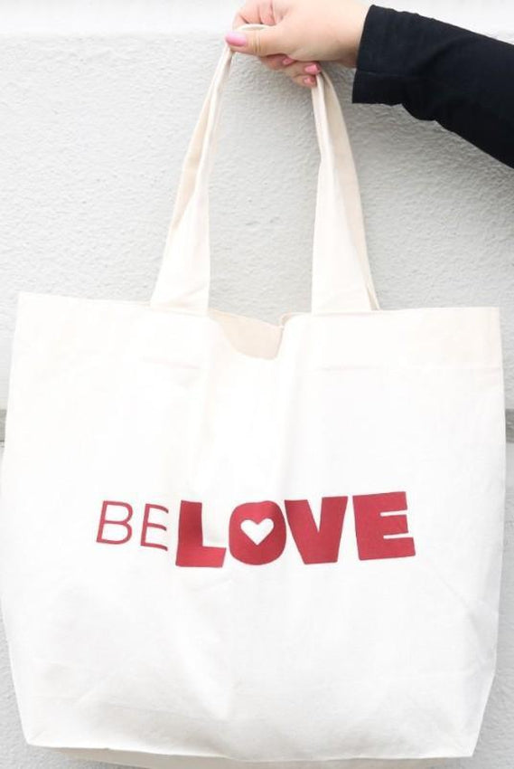 BeLove White Cotton Canvas Shopper Bag-Belo-MAMOQ