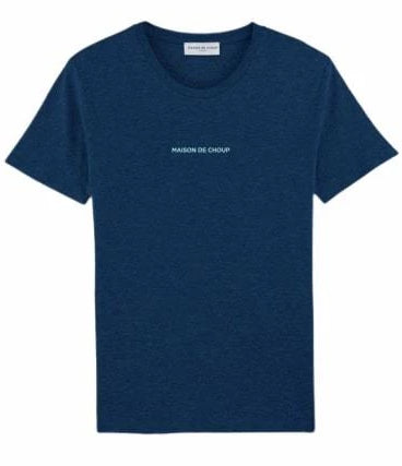 Black Heather Blue Embroidered T-Shirt-Maison de Choup-MAMOQ