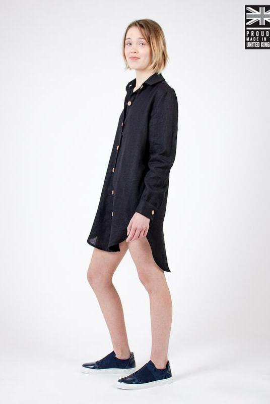 Black Linen Shirt Dress-Zola Amour-MAMOQ