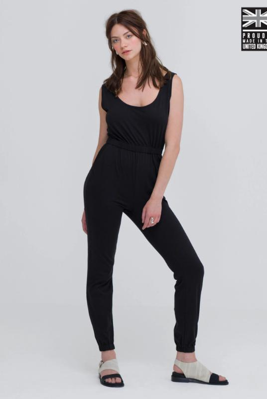 Black Organic Cotton Jumpsuit-Zola Amour-MAMOQ