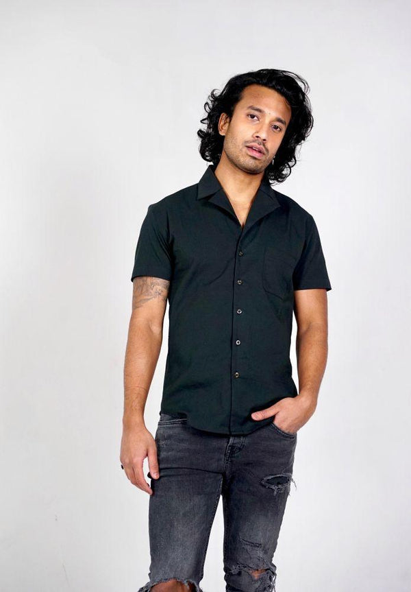 Black Organic Cotton Short Sleeve Bowling Shirt-Wynad-MAMOQ