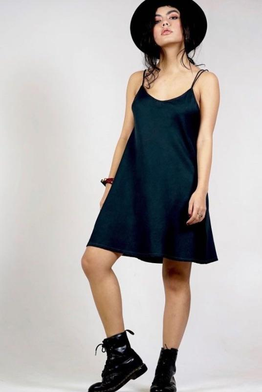 Black Organic Cotton Slip Dress-Wynad-MAMOQ