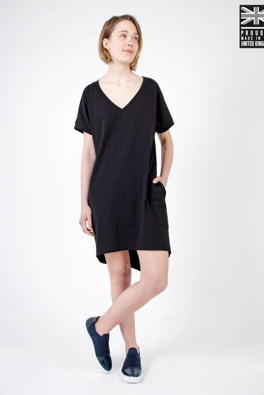 Black Organic Cotton T-Shirt Dress-Zola Amour-MAMOQ