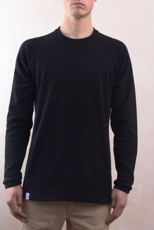 Black Organic Cotton Texture Sweater-Lyme Terrace-MAMOQ