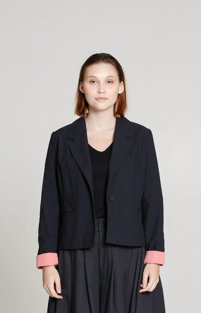 Black Recycled Cotton Trade Blazer-TAUKO-MAMOQ