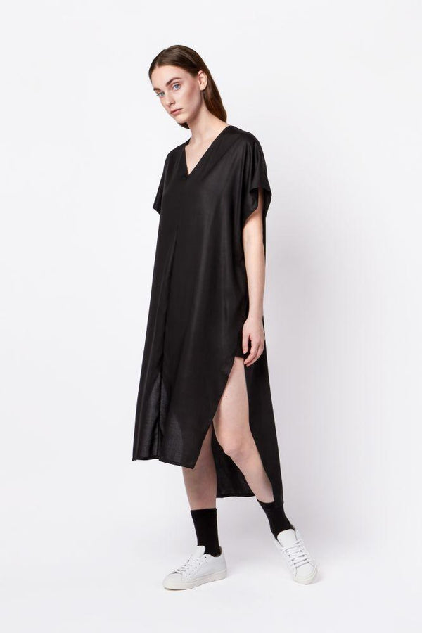 Black Tencel Long Split Dress-Elsien Gringhuis-MAMOQ