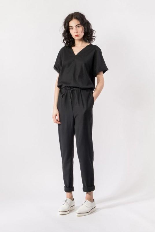 Black Tencel Short Sleeve Jumpsuit-Elsien Gringhuis-MAMOQ