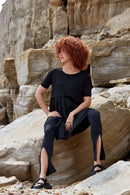 Black Twisted High Waisted Leggings-Asmuss-MAMOQ