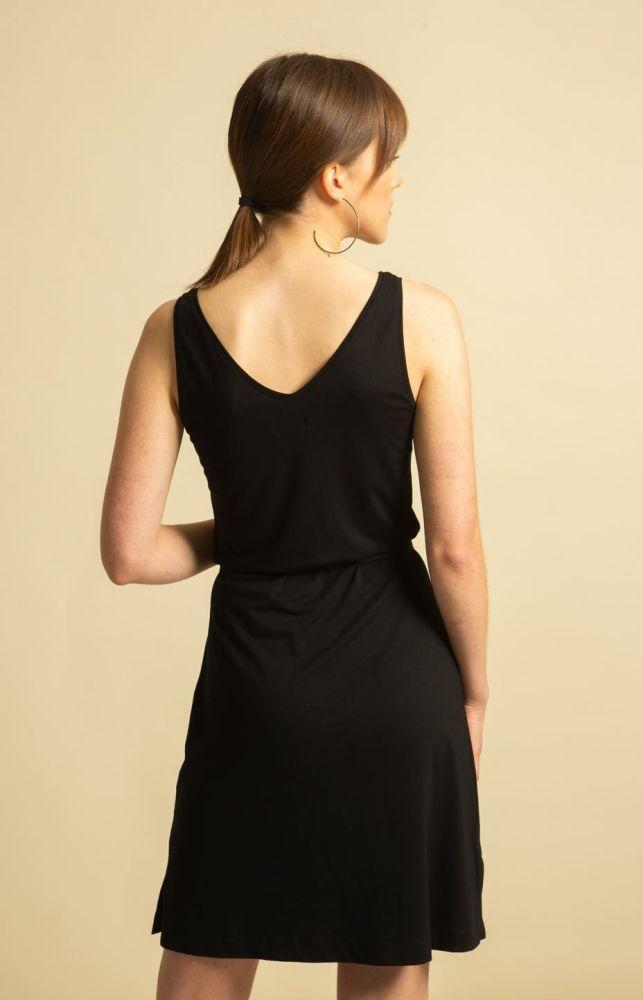 Black Vegan Canvas Dress-TAUKO-MAMOQ