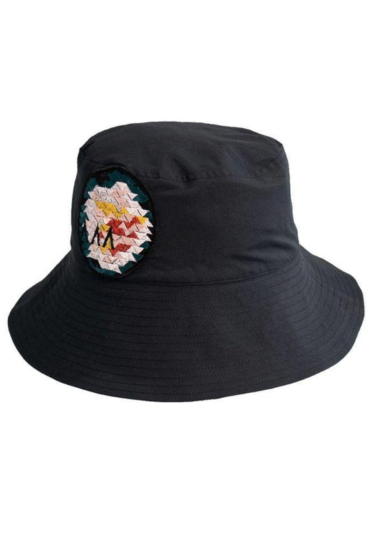 Black Wide Brim Bucket Hat-Asmuss-MAMOQ