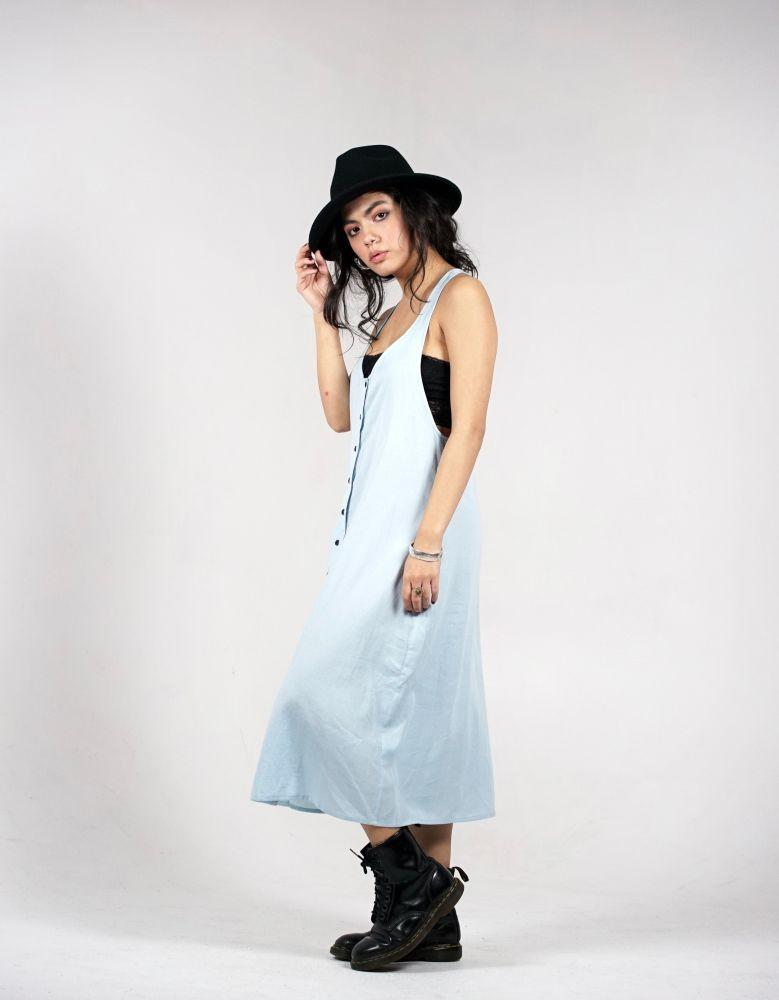 Blue Racer Back Organic Cotton Midi Dress-Wynad-MAMOQ