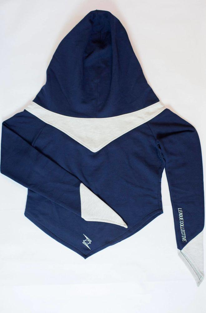 Blue Recycled Cotton Hoodie-League Collective-MAMOQ