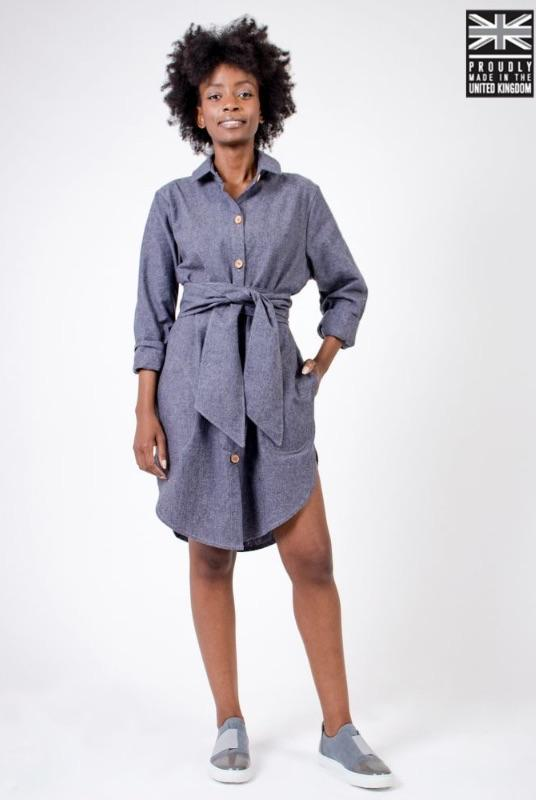 Blue Recycled Hemp Long Sleeve Shirt Dress-Zola Amour-MAMOQ