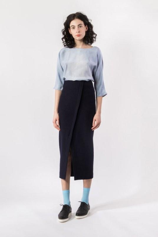 Blue Wool Diagonal Tube Skirt-Elsien Gringhuis-MAMOQ