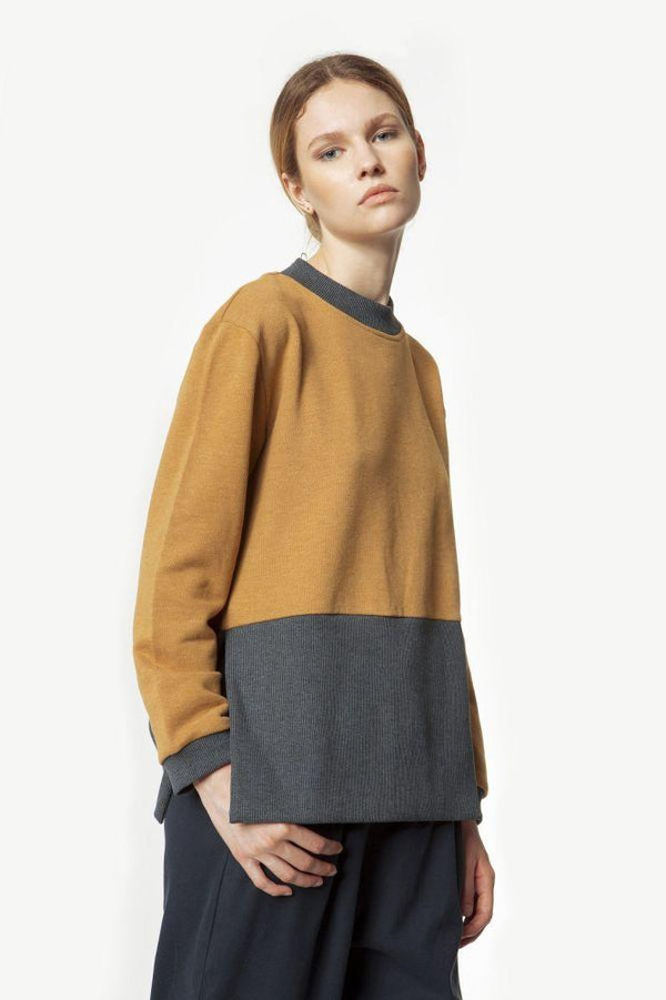 Brown & Grey Maxi Ribbed Organic Sweatshirt-Rakha-MAMOQ