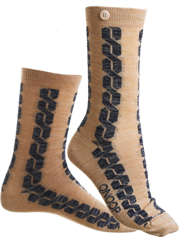 Cable Car Twisted Beige Organic Cotton Socks-Cable Car-Qnoop-MAMOQ