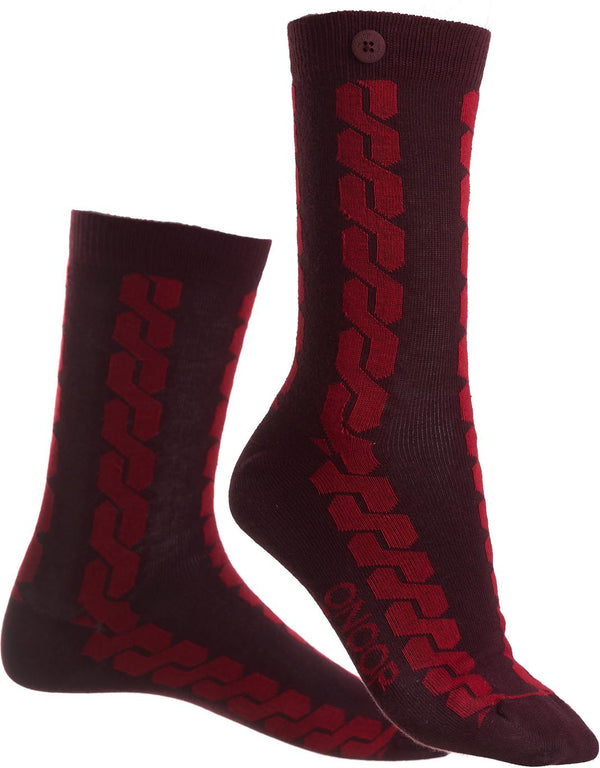Cable Car Wine Red Organic Cotton Socks-Cable Car-Qnoop-MAMOQ