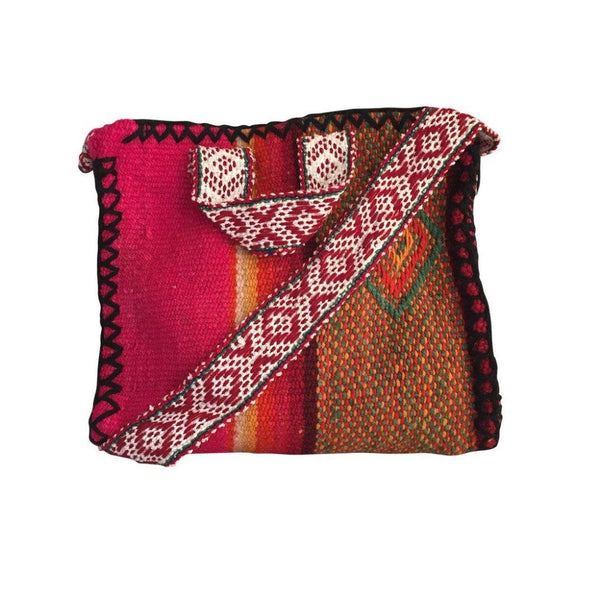 Callangate Pink Handwoven Wool Crossbody Bag-Untold Treasures-MAMOQ