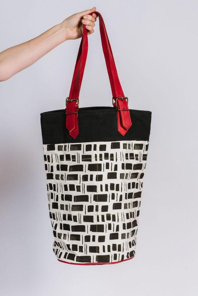 Canvas and Leather bucket bag in Black Tile print-Humphries & Begg-MAMOQ