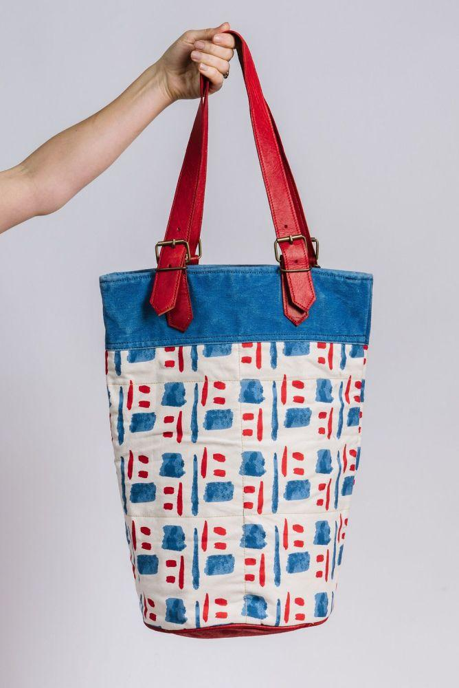 Canvas and Leather bucket bag in Tile and Smile print-Humphries & Begg-MAMOQ