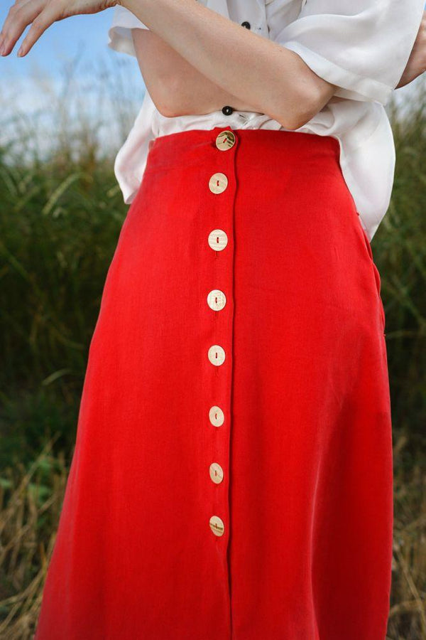 Carina Red Midi Skirt-Rakha-MAMOQ
