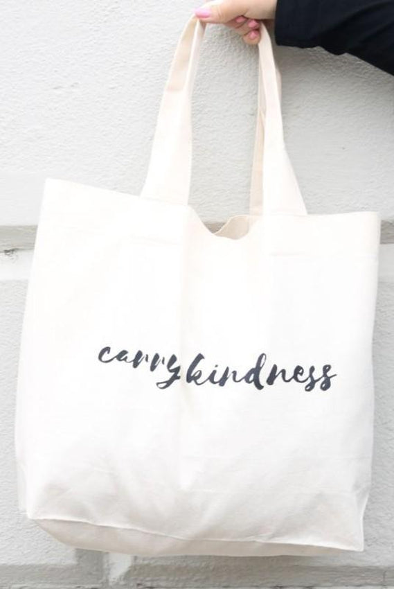 Carry Kindness White Organic Cotton Canvas Shopper Bag-Belo-MAMOQ