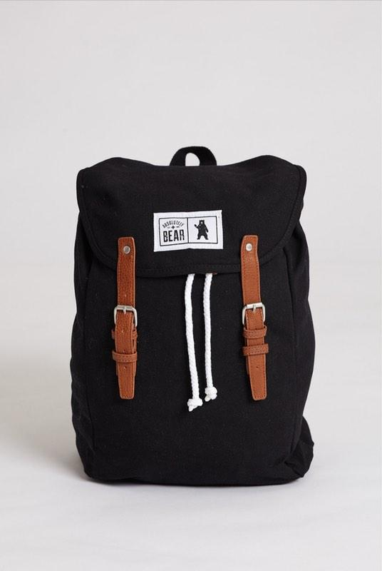 Cedar Black Canvas Backpack-Absolutely Bear-MAMOQ