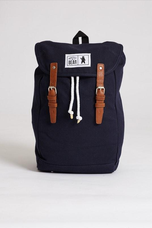 Cedar Navy Canvas Backpack-Absolutely Bear-MAMOQ