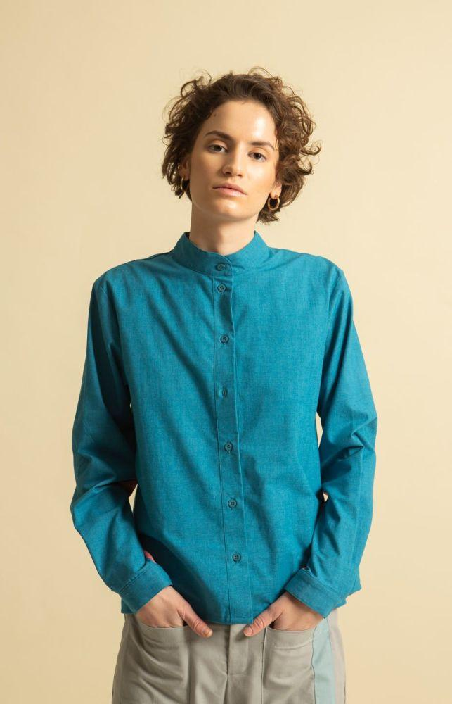 Cella Mygonos Blue Recycled Cotton Shirt-TAUKO-MAMOQ