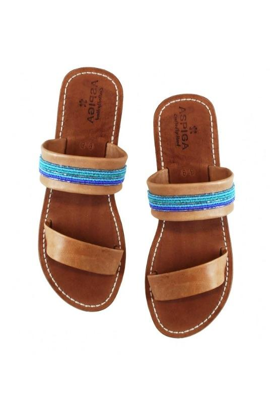 Chako Slip On Turquoise Leather Sandal-Aspiga-MAMOQ