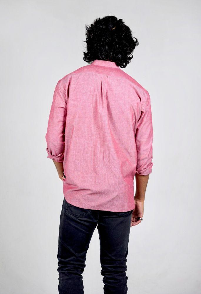 Chambray Red Organic Cotton Long Sleeve Shirt-Wynad-MAMOQ