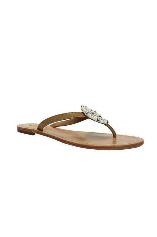 Chandi White Thong Leather Disc Sandals-Aspiga-MAMOQ