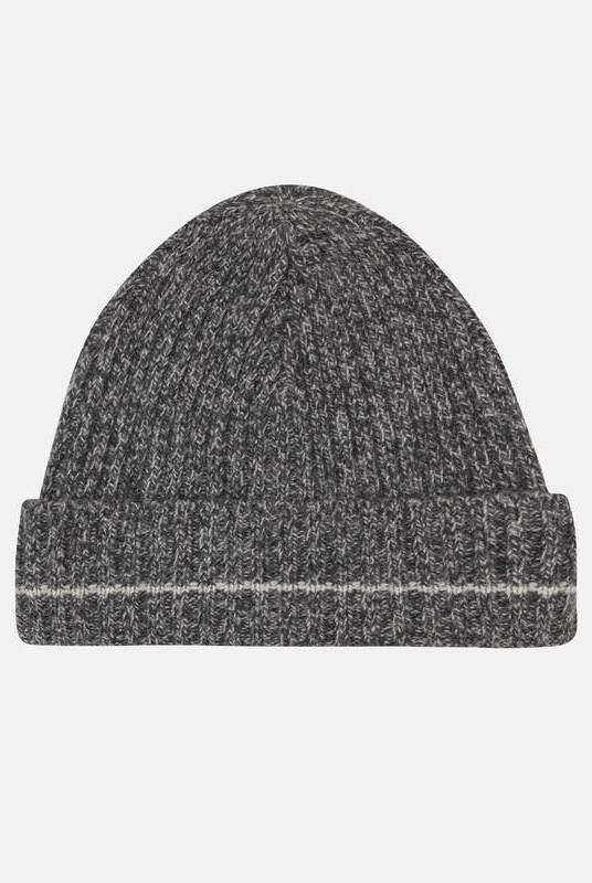 Charcoal Recycled Cashmere Beanie-Riley Studio-MAMOQ