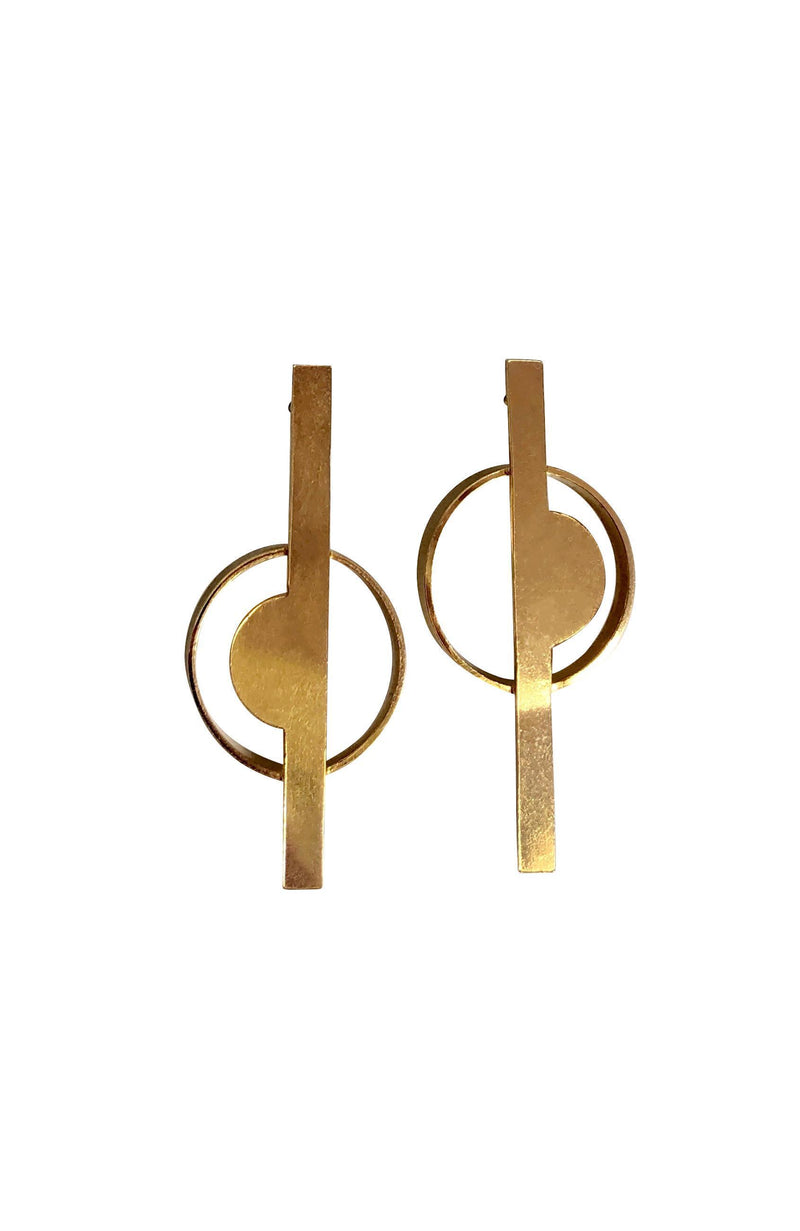 Circle and line Gold Plated Silver Earrings-Earrings-laoehlé-MAMOQ