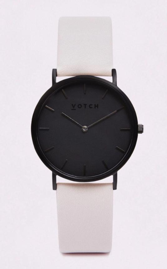 Classic Black & Light Grey Vegan Leather Watch-Watch-Votch-MAMOQ