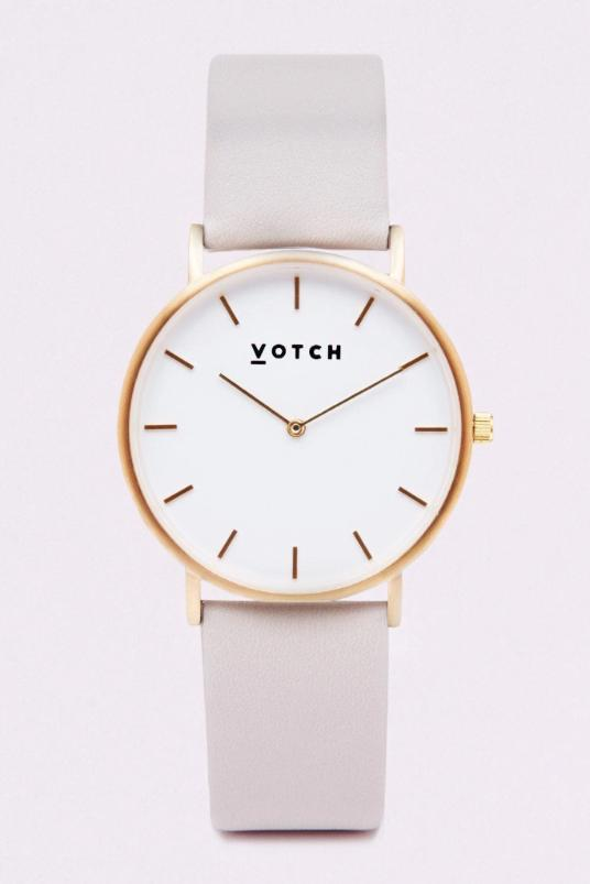 Classic Gold & Light Grey Vegan Leather Watch-Watch-Votch-MAMOQ