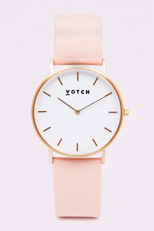Classic Gold & Pink Vegan Leather Watch-Watch-Votch-MAMOQ