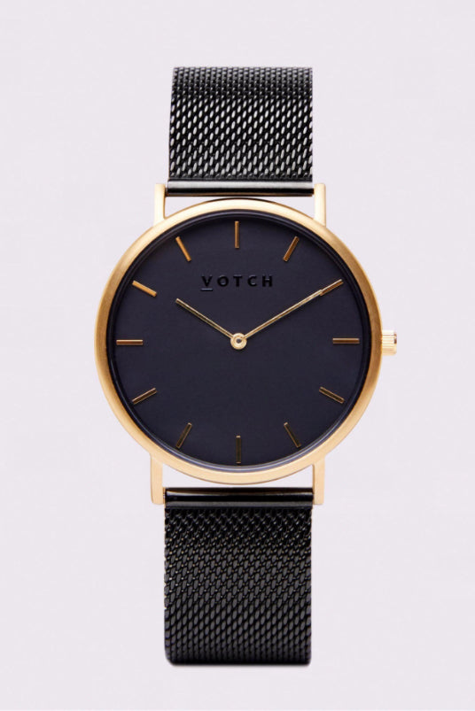 Classic Mesh Black & Gold Stainless Steel Watch-Watch-Votch-MAMOQ