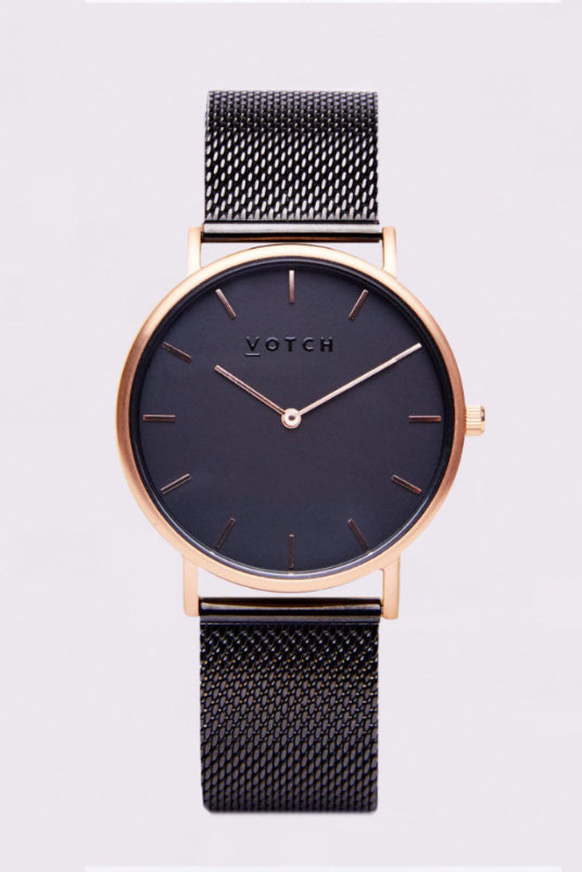 Classic Mesh Black & Rose Gold Stainless Steel Watch-Watch-Votch-MAMOQ