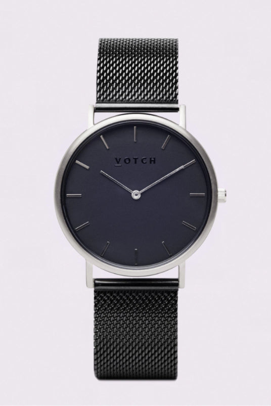Classic Mesh Black & Silver Stainless Steel Watch-Watch-Votch-MAMOQ