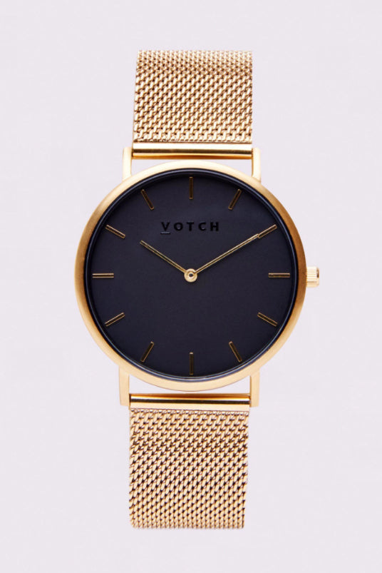 Classic Mesh Gold & Black Stainless Steel Watch-Watch-Votch-MAMOQ