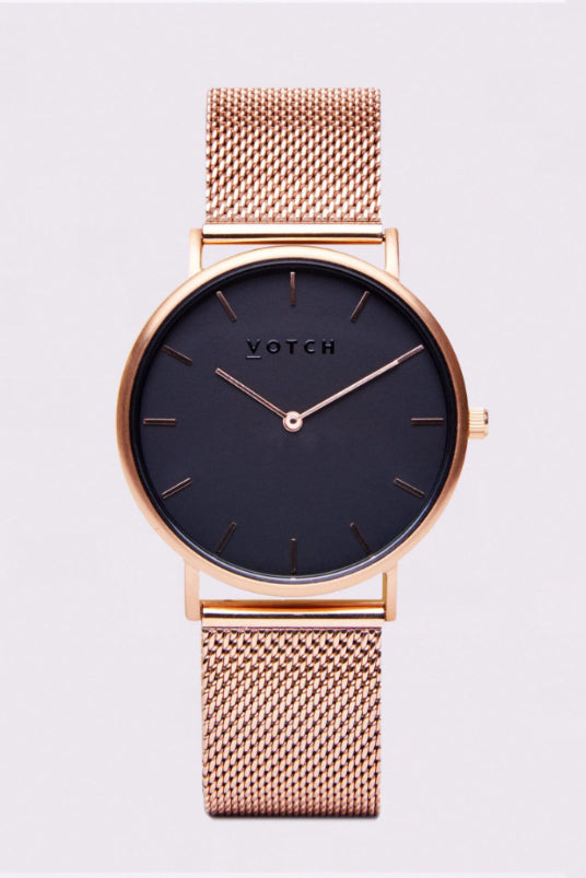 Classic Mesh Rose Gold & Black Stainless Steel Watch-Watch-Votch-MAMOQ