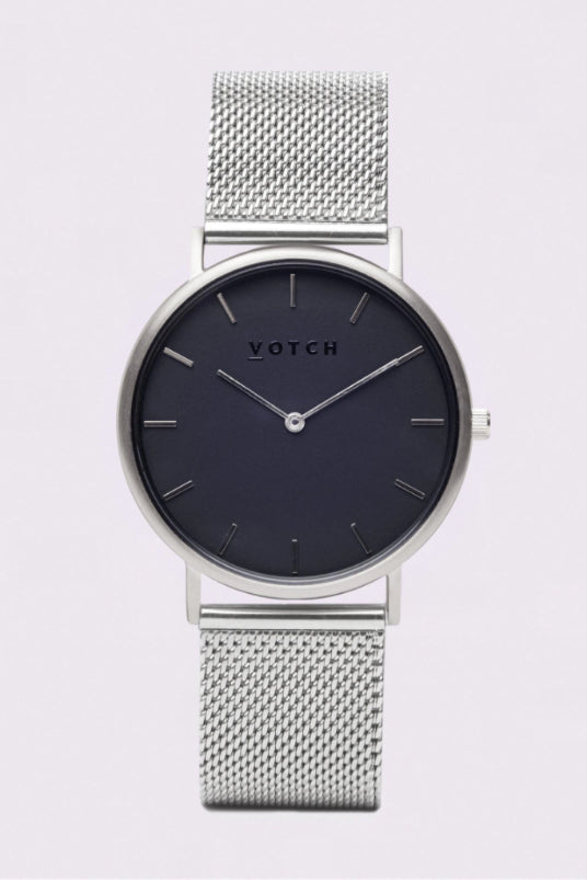 Classic Mesh Silver & Black Stainless Steel Watch-Watch-Votch-MAMOQ