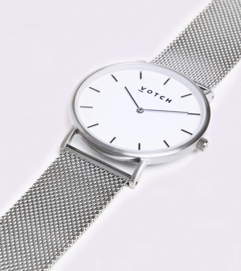 Classic Mesh Silver Stainless Steel Watch-Watch-Votch-MAMOQ