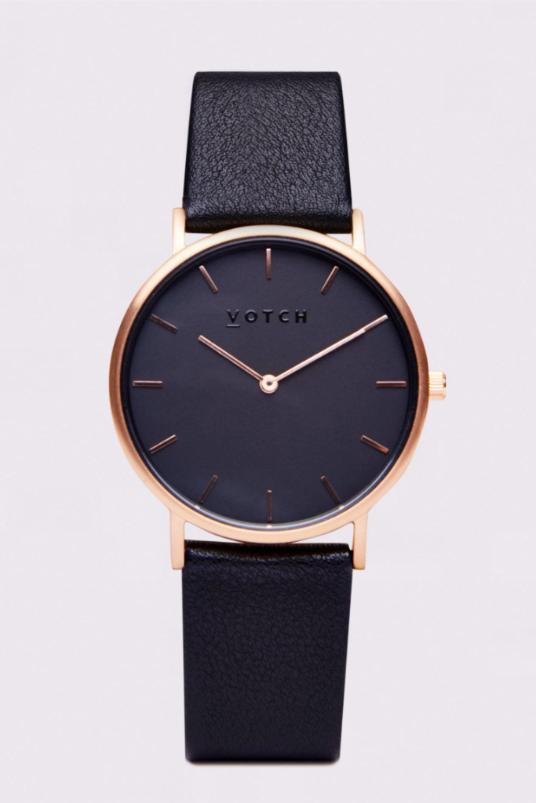 Classic Rose Gold & Black Vegan Leather Watch-Watch-Votch-MAMOQ