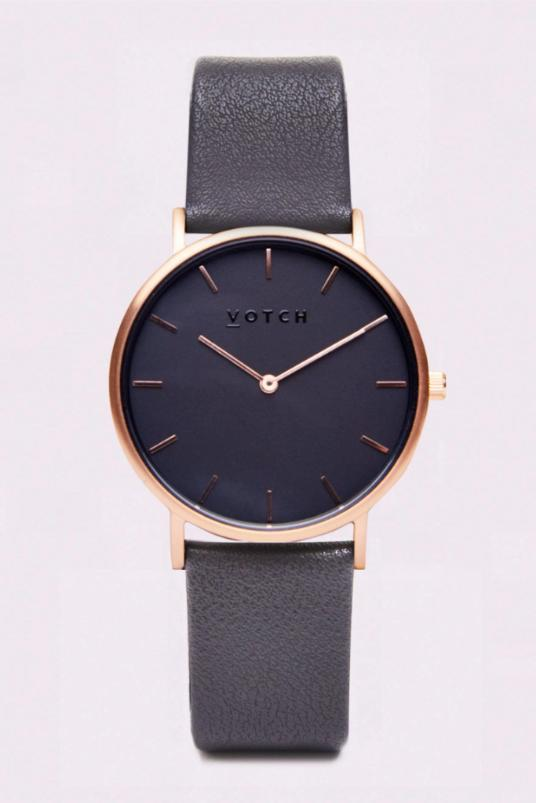 Classic Rose Gold & Black with Dark Grey Vegan Leather Watch-Watch-Votch-MAMOQ