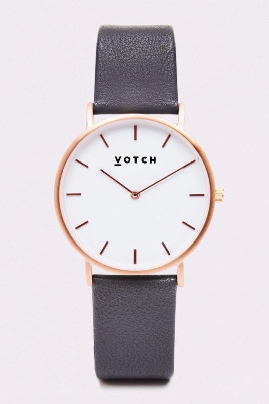 Classic Rose Gold & Dark Grey Vegan Leather Watch-Watch-Votch-MAMOQ