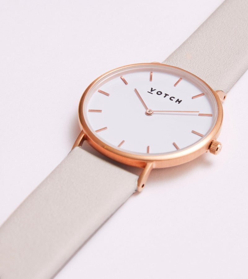 Classic Rose Gold & Light Grey Vegan Leather Watch-Watch-Votch-MAMOQ